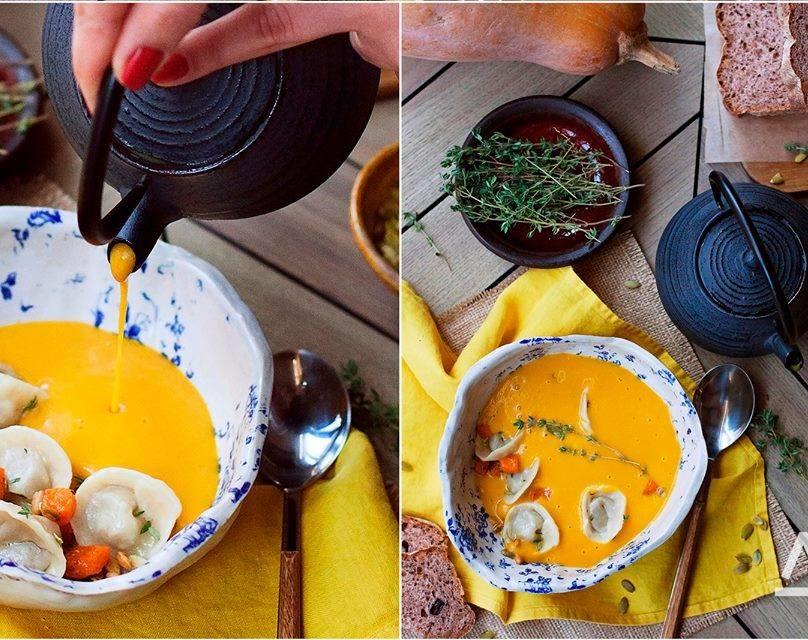Тыквенный суп карри с каштановыми пельмешками в Любимом Дяде